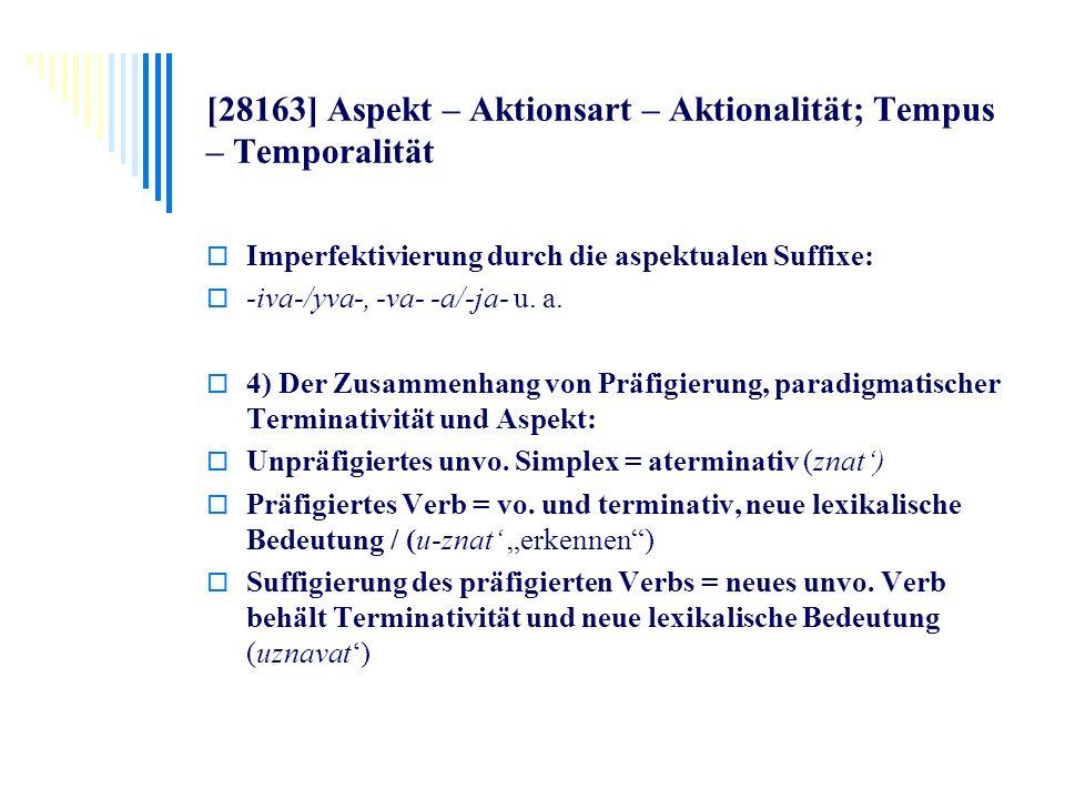 [28163] Aspekt – Aktionsart – Aktionalität; Tempus – Temporalität Imperfektivierung durch die aspektualen Suffixe: -iva-/yva-, -va- -a/-ja- u. a. 4) D