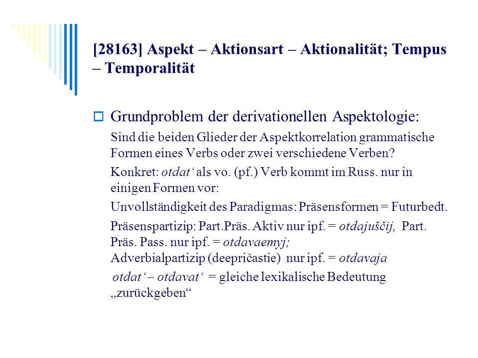 [28163] Aspekt – Aktionsart – Aktionalität; Tempus – Temporalität Grundproblem der derivationellen Aspektologie: Sind die beiden Glieder der Aspektkor