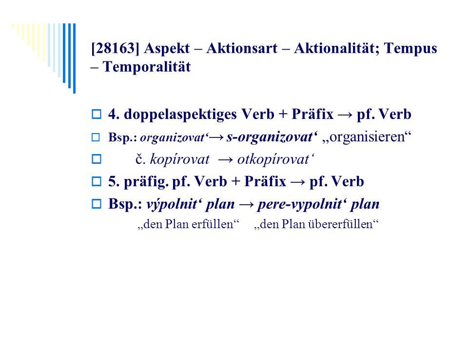 [28163] Aspekt – Aktionsart – Aktionalität; Tempus – Temporalität 4. doppelaspektiges Verb + Präfix pf. Verb Bsp.: organizovat s-organizovat organisie