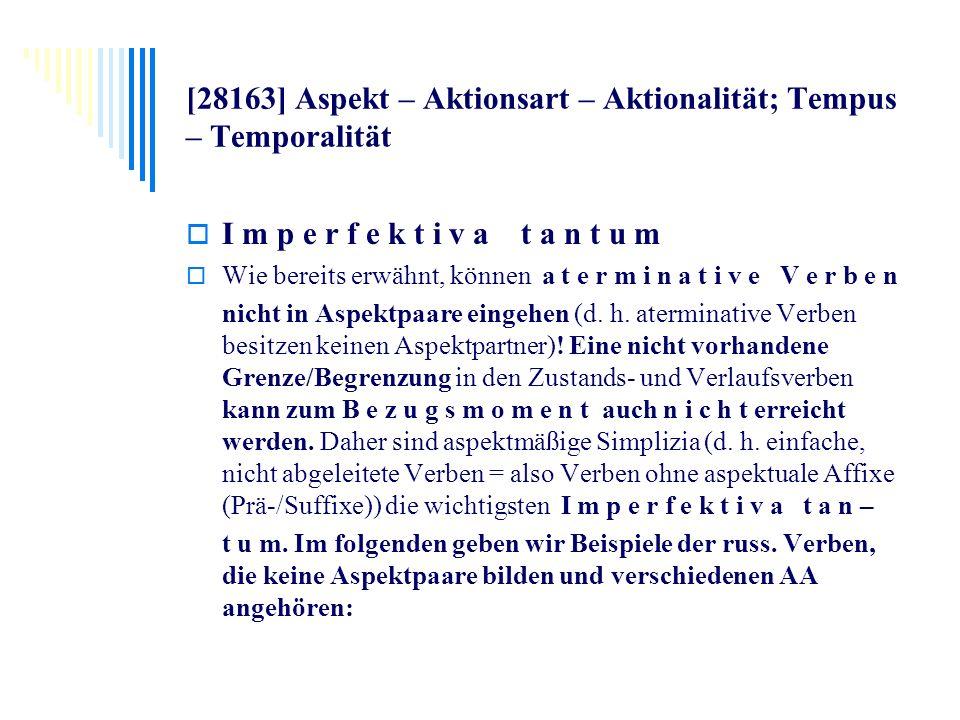 [28163] Aspekt – Aktionsart – Aktionalität; Tempus – Temporalität I m p e r f e k t i v a t a n t u m Wie bereits erwähnt, können a t e r m i n a t i