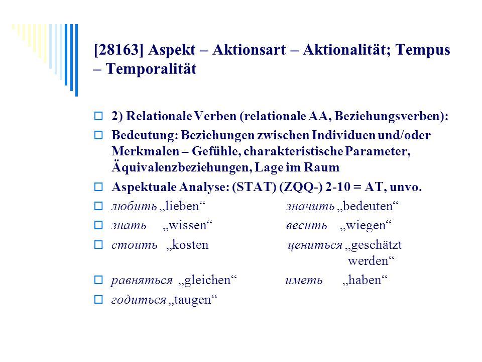 [28163] Aspekt – Aktionsart – Aktionalität; Tempus – Temporalität 2) Relationale Verben (relationale AA, Beziehungsverben): Bedeutung: Beziehungen zwi