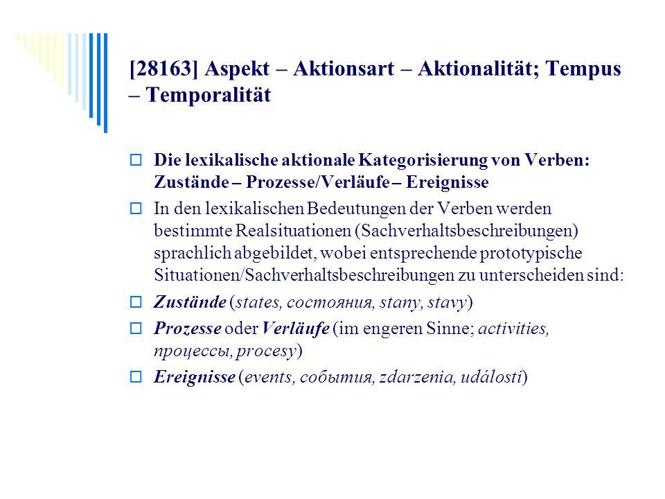 [28163] Aspekt – Aktionsart – Aktionalität; Tempus – Temporalität Die lexikalische aktionale Kategorisierung von Verben: Zustände – Prozesse/Verläufe