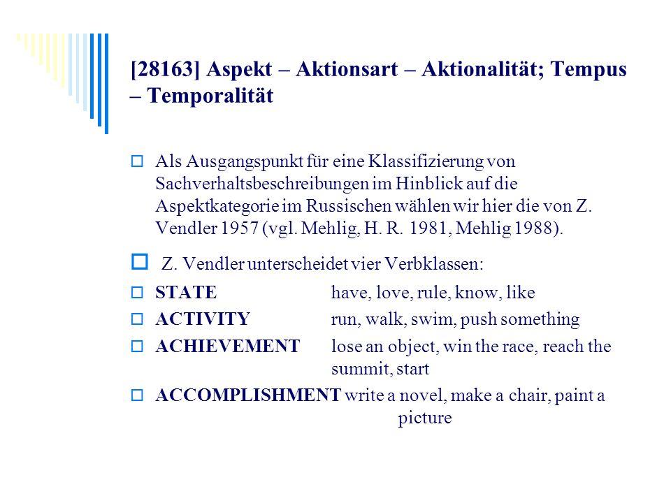[28163] Aspekt – Aktionsart – Aktionalität; Tempus – Temporalität Als Ausgangspunkt für eine Klassifizierung von Sachverhaltsbeschreibungen im Hinblic