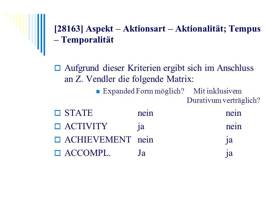 [28163] Aspekt – Aktionsart – Aktionalität; Tempus – Temporalität Aufgrund dieser Kriterien ergibt sich im Anschluss an Z. Vendler die folgende Matrix