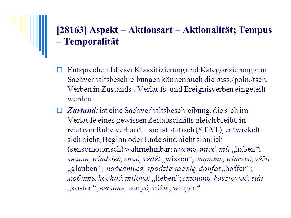[28163] Aspekt – Aktionsart – Aktionalität; Tempus – Temporalität Entsprechend dieser Klassifizierung und Kategorisierung von Sachverhaltsbeschreibung