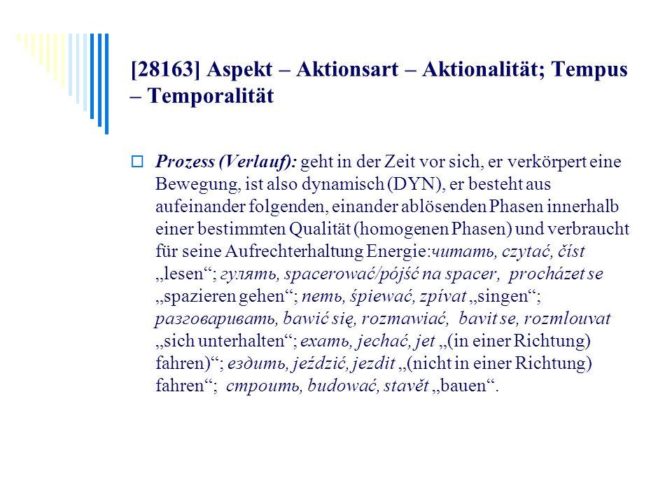 [28163] Aspekt – Aktionsart – Aktionalität; Tempus – Temporalität Prozess (Verlauf): geht in der Zeit vor sich, er verkörpert eine Bewegung, ist also
