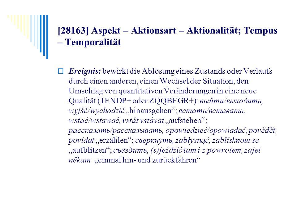 [28163] Aspekt – Aktionsart – Aktionalität; Tempus – Temporalität Ereignis: bewirkt die Ablösung eines Zustands oder Verlaufs durch einen anderen, ein
