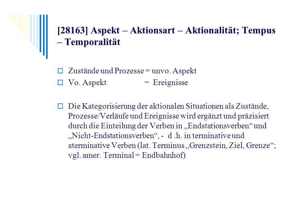 [28163] Aspekt – Aktionsart – Aktionalität; Tempus – Temporalität Zustände und Prozesse = unvo. Aspekt Vo. Aspekt = Ereignisse Die Kategorisierung der