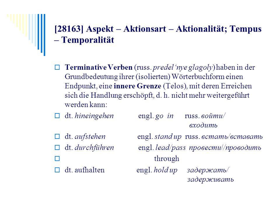 [28163] Aspekt – Aktionsart – Aktionalität; Tempus – Temporalität Terminative Verben (russ. predelnye glagoly) haben in der Grundbedeutung ihrer (isol
