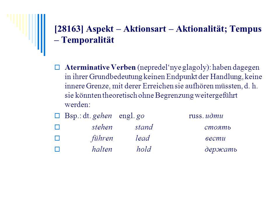 [28163] Aspekt – Aktionsart – Aktionalität; Tempus – Temporalität Aterminative Verben (nepredelnye glagoly): haben dagegen in ihrer Grundbedeutung kei