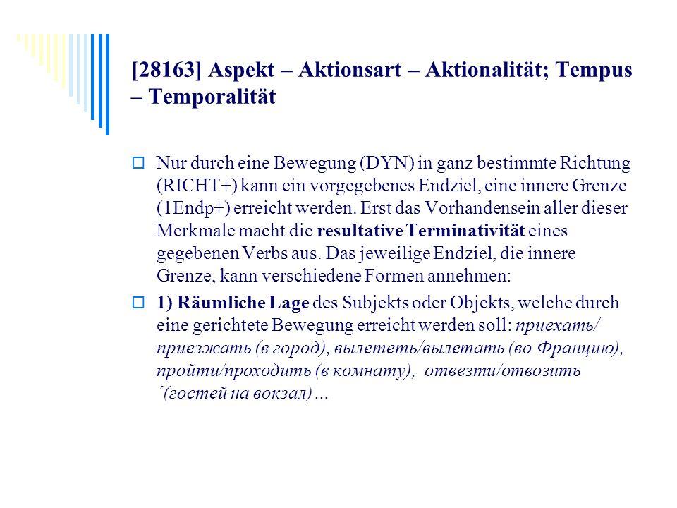 [28163] Aspekt – Aktionsart – Aktionalität; Tempus – Temporalität Nur durch eine Bewegung (DYN) in ganz bestimmte Richtung (RICHT+) kann ein vorgegebe