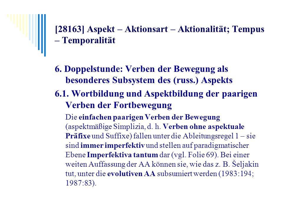 [28163] Aspekt – Aktionsart – Aktionalität; Tempus – Temporalität 6. Doppelstunde: Verben der Bewegung als besonderes Subsystem des (russ.) Aspekts 6.