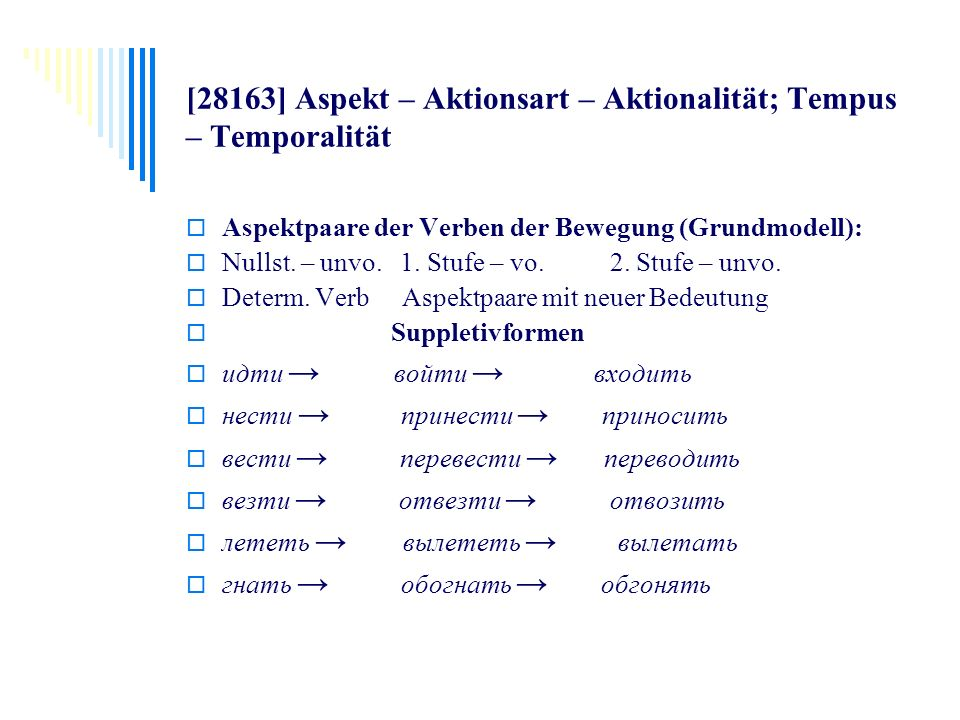 [28163] Aspekt – Aktionsart – Aktionalität; Tempus – Temporalität Aspektpaare der Verben der Bewegung (Grundmodell): Nullst. – unvo. 1. Stufe – vo. 2.