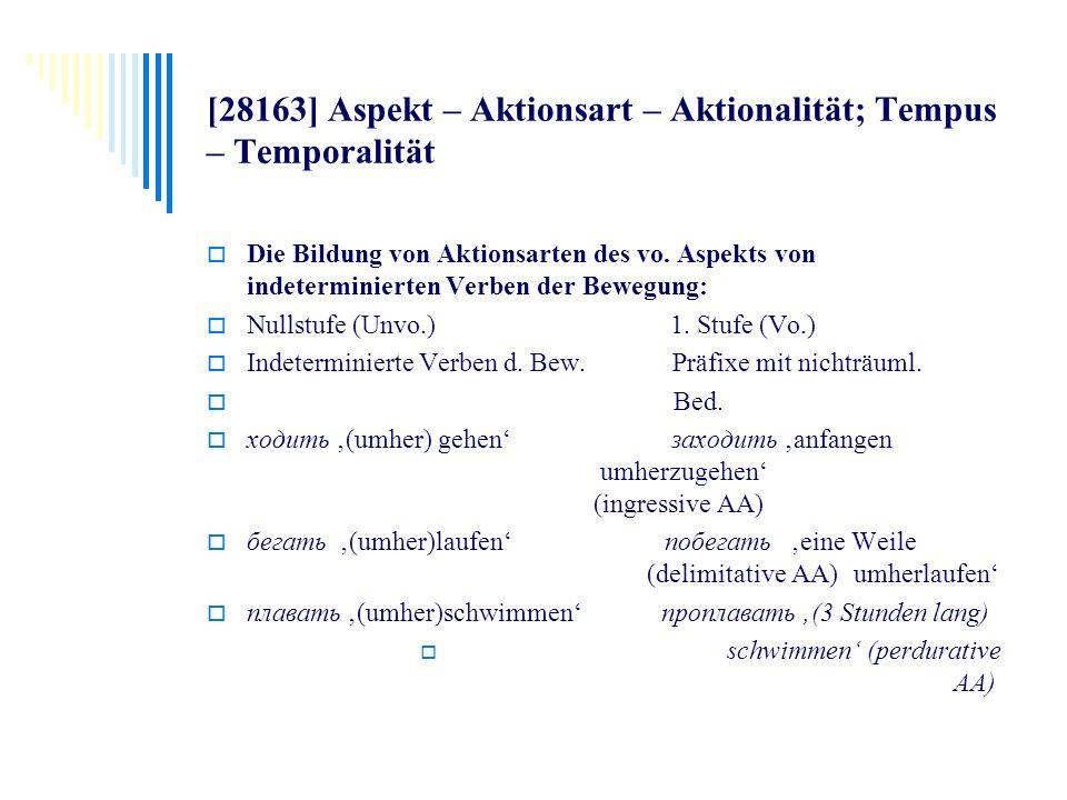 [28163] Aspekt – Aktionsart – Aktionalität; Tempus – Temporalität Die Bildung von Aktionsarten des vo. Aspekts von indeterminierten Verben der Bewegun
