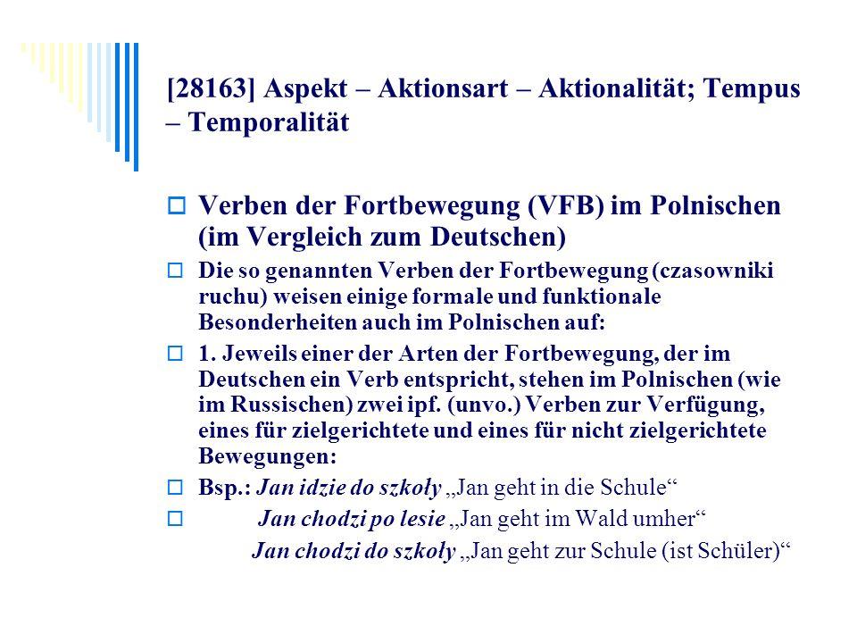 [28163] Aspekt – Aktionsart – Aktionalität; Tempus – Temporalität Verben der Fortbewegung (VFB) im Polnischen (im Vergleich zum Deutschen) Die so gena