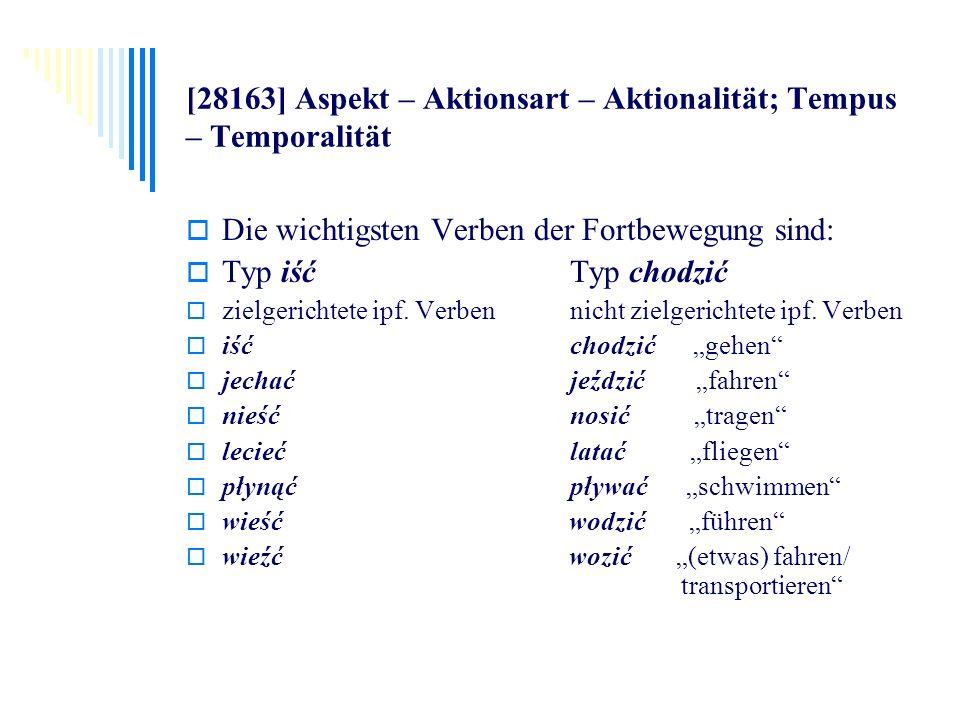 [28163] Aspekt – Aktionsart – Aktionalität; Tempus – Temporalität Die wichtigsten Verben der Fortbewegung sind: Typ iść Typ chodzić zielgerichtete ipf