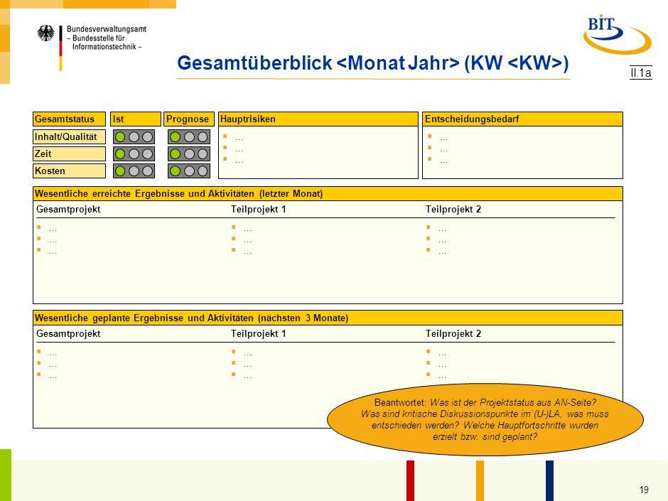 18 Inhalt Projektstatus AN Gesamtüberblick Abnahme- und Vertragsstatus 1 Statusbericht fachliche Konzepte 1 Status Zusammenarbeit AN/AG aus AN-Sicht 1