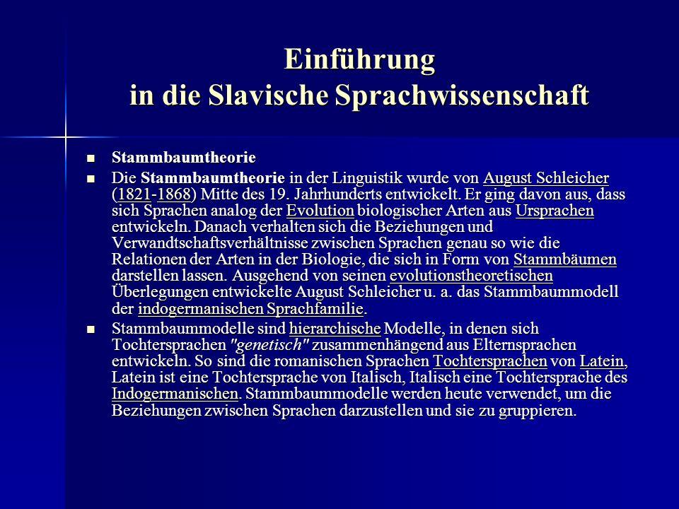 Einführung in die Slavische Sprachwissenschaft Stammbaumtheorie Stammbaumtheorie Die Stammbaumtheorie in der Linguistik wurde von August Schleicher (1821-1868) Mitte des 19.