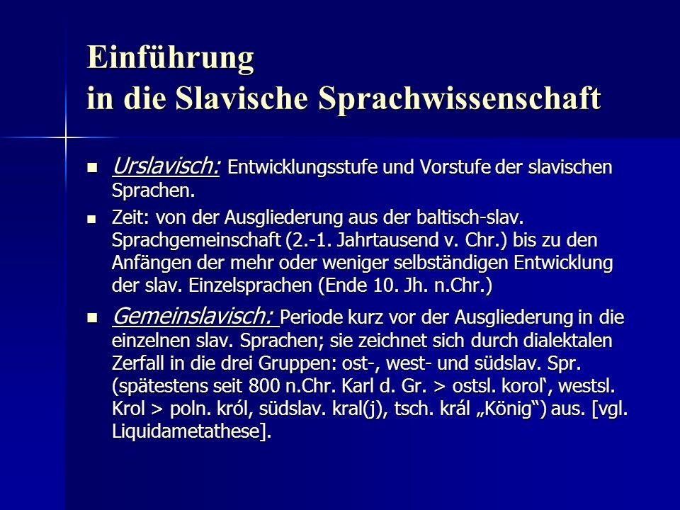 Einführung in die Slavische Sprachwissenschaft Urslavisch: Entwicklungsstufe und Vorstufe der slavischen Sprachen.