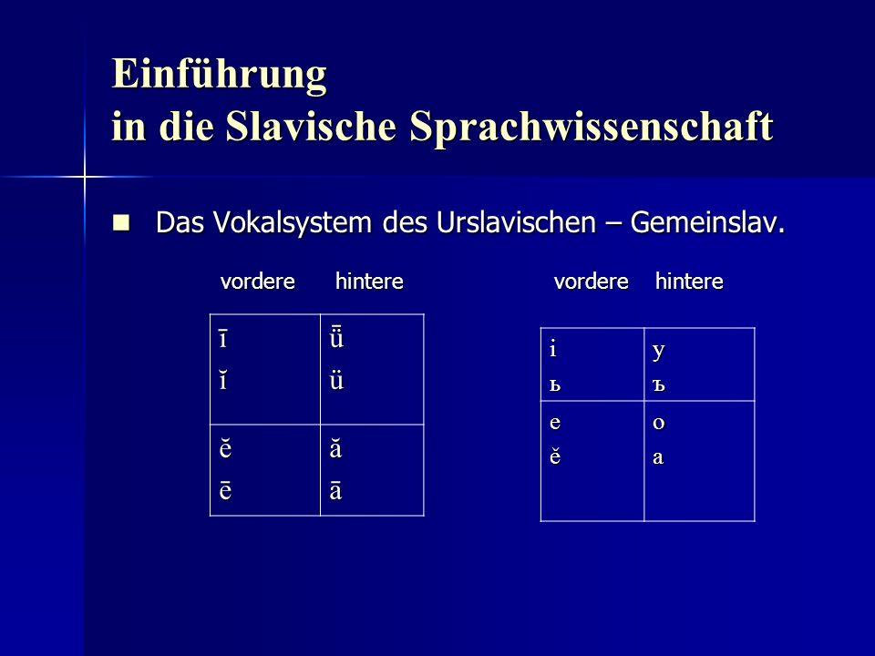 Einführung in die Slavische Sprachwissenschaft Das Vokalsystem des Urslavischen – Gemeinslav.