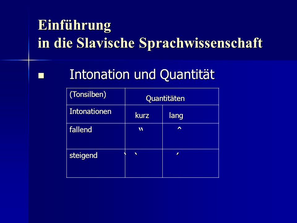 Einführung in die Slavische Sprachwissenschaft Intonation und Quantität Intonation und Quantität (Tonsilben) Quantitäten Quantitäten Intonationen kurz