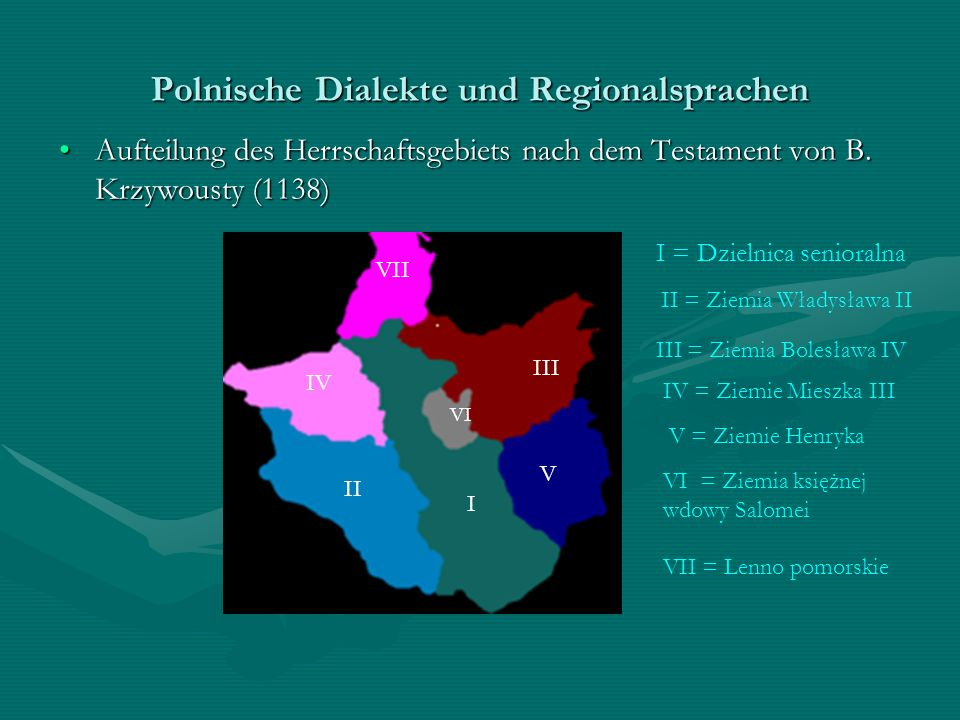 Polnische Dialekte und Regionalsprachen Aufteilung des Herrschaftsgebiets nach dem Testament von B. Krzywousty (1138)Aufteilung des Herrschaftsgebiets