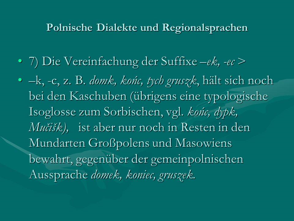 Polnische Dialekte und Regionalsprachen 7) Die Vereinfachung der Suffixe –ek, -ec >7) Die Vereinfachung der Suffixe –ek, -ec > –k, -c, z. B. domk, koń