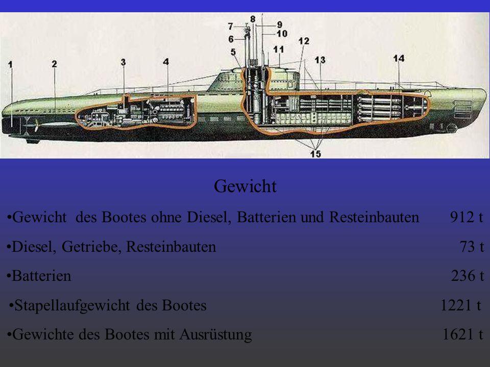 Gewicht Gewicht des Bootes ohne Diesel, Batterien und Resteinbauten 912 t Diesel, Getriebe, Resteinbauten 73 t Batterien 236 t Stapellaufgewicht des B