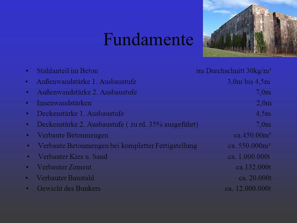 Fundamente Stahlanteil im Beton im Durchschnitt 30kg/m³ Außenwandstärke 1. Ausbaustufe 3,0m bis 4,5m Außenwandstärke 2. Ausbaustufe 7,0m Innenwandstär