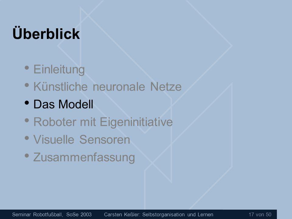Seminar Robotfußball, SoSe 2003Carsten Keßler: Selbstorganisation und Lernen 17 von 50 Überblick Einleitung Künstliche neuronale Netze Das Modell Robo