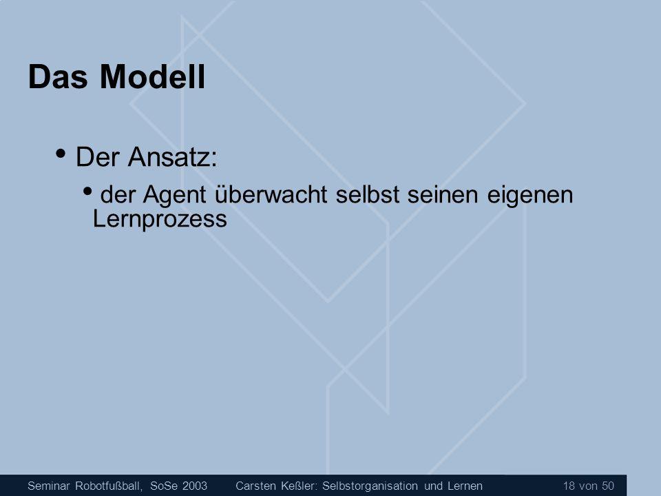 Seminar Robotfußball, SoSe 2003Carsten Keßler: Selbstorganisation und Lernen 18 von 50 Das Modell Der Ansatz: der Agent überwacht selbst seinen eigene