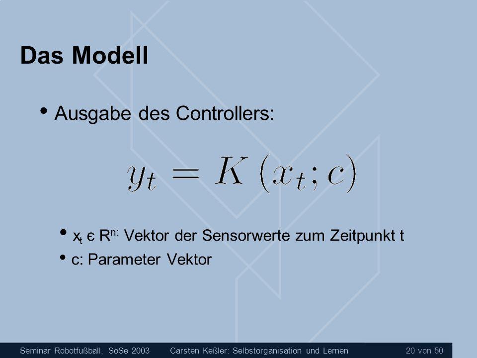 Seminar Robotfußball, SoSe 2003Carsten Keßler: Selbstorganisation und Lernen 20 von 50 Das Modell Ausgabe des Controllers: x t є R n: Vektor der Senso