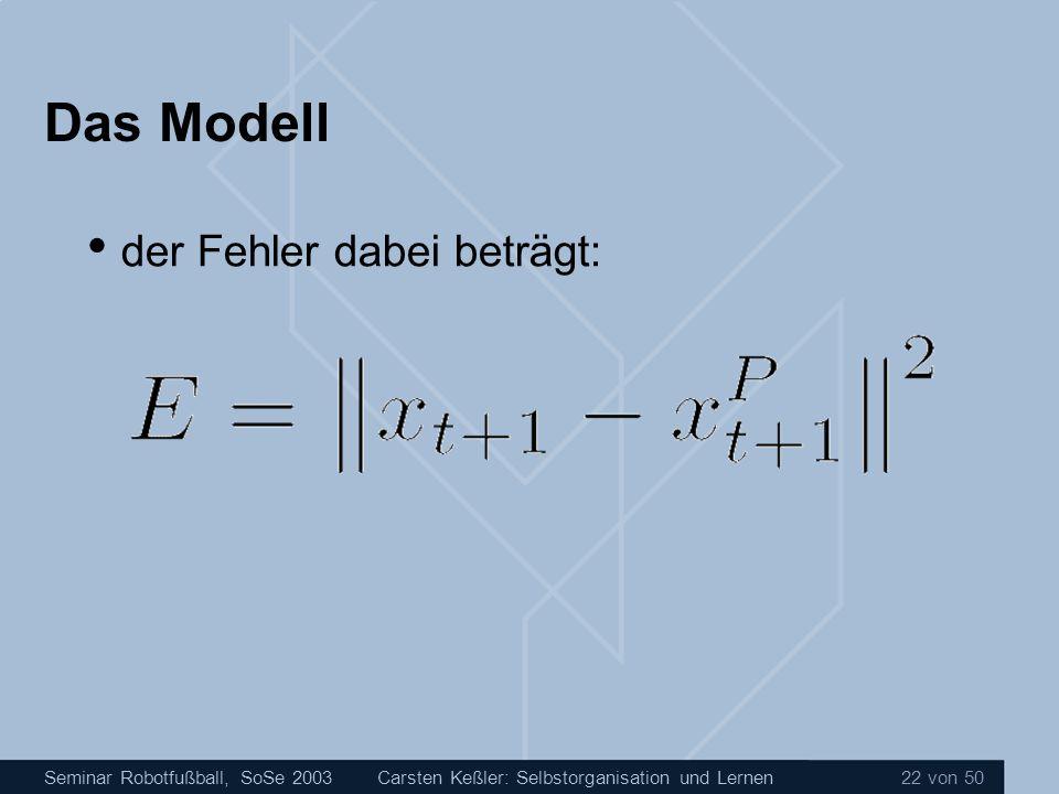 Seminar Robotfußball, SoSe 2003Carsten Keßler: Selbstorganisation und Lernen 22 von 50 Das Modell der Fehler dabei beträgt: