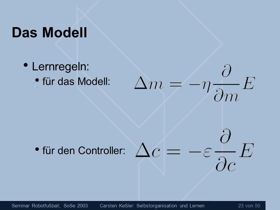 Seminar Robotfußball, SoSe 2003Carsten Keßler: Selbstorganisation und Lernen 23 von 50 Das Modell Lernregeln: für das Modell: für den Controller: