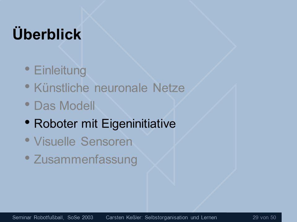 Seminar Robotfußball, SoSe 2003Carsten Keßler: Selbstorganisation und Lernen 29 von 50 Überblick Einleitung Künstliche neuronale Netze Das Modell Robo