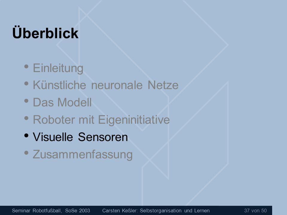 Seminar Robotfußball, SoSe 2003Carsten Keßler: Selbstorganisation und Lernen 37 von 50 Überblick Einleitung Künstliche neuronale Netze Das Modell Robo