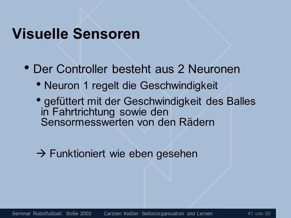 Seminar Robotfußball, SoSe 2003Carsten Keßler: Selbstorganisation und Lernen 41 von 50 Visuelle Sensoren Der Controller besteht aus 2 Neuronen Neuron
