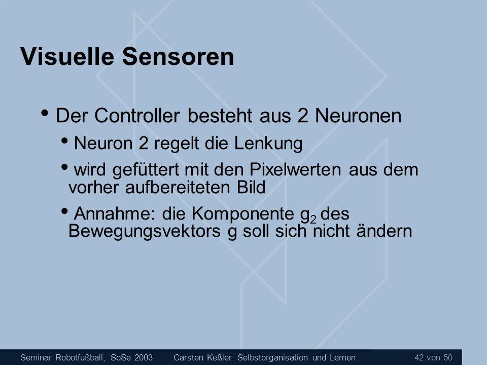 Seminar Robotfußball, SoSe 2003Carsten Keßler: Selbstorganisation und Lernen 42 von 50 Visuelle Sensoren Der Controller besteht aus 2 Neuronen Neuron