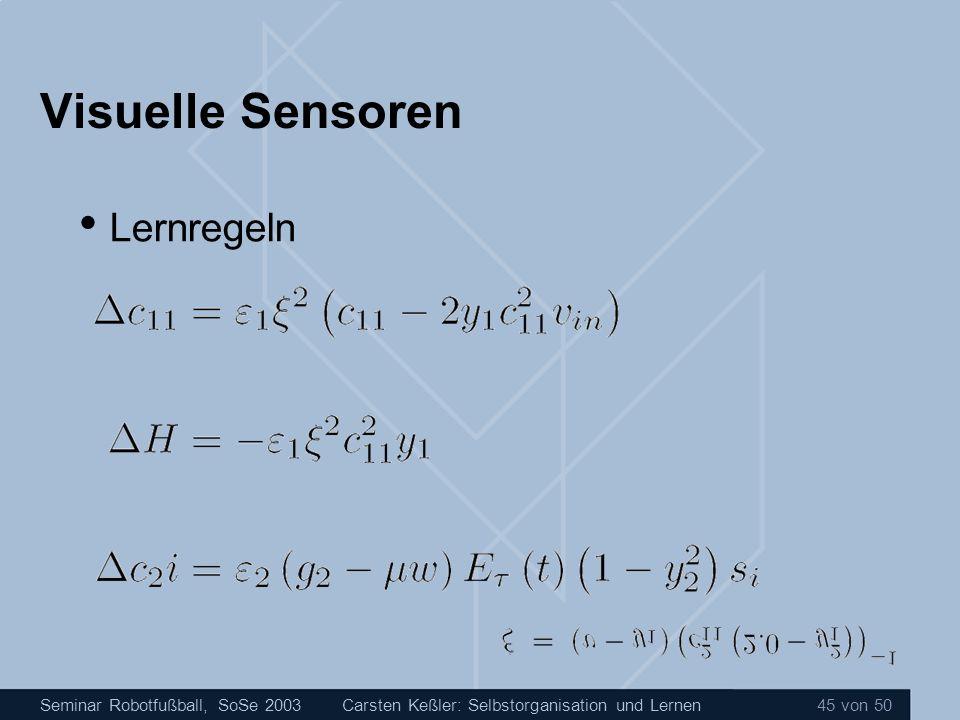 Seminar Robotfußball, SoSe 2003Carsten Keßler: Selbstorganisation und Lernen 45 von 50 Visuelle Sensoren Lernregeln