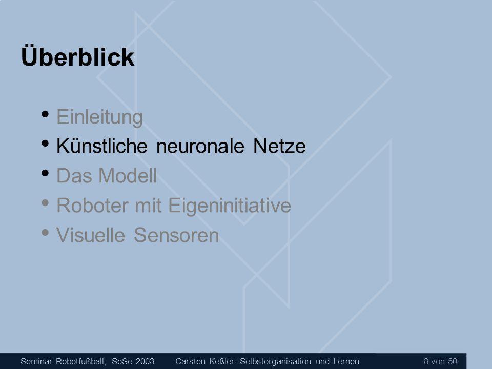 Seminar Robotfußball, SoSe 2003Carsten Keßler: Selbstorganisation und Lernen 29 von 50 Überblick Einleitung Künstliche neuronale Netze Das Modell Roboter mit Eigeninitiative Visuelle Sensoren Zusammenfassung