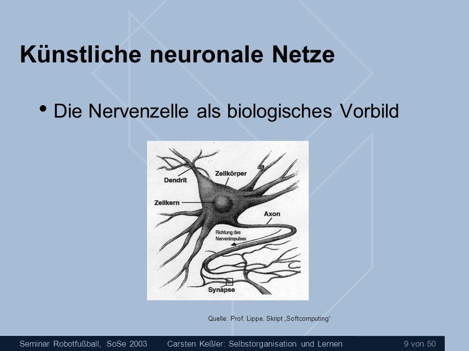 Seminar Robotfußball, SoSe 2003Carsten Keßler: Selbstorganisation und Lernen 9 von 50 Künstliche neuronale Netze Die Nervenzelle als biologisches Vorb
