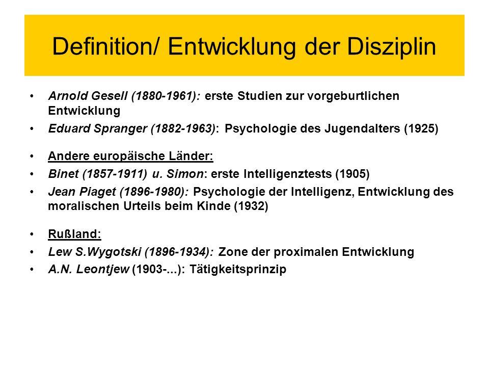Definition/ Entwicklung der Disziplin Modern.