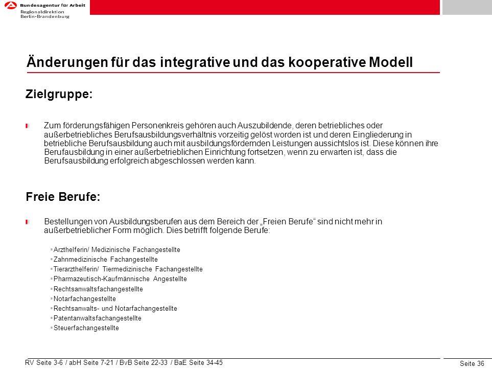 Seite 36 RV Seite 3-6 / abH Seite 7-21 / BvB Seite 22-33 / BaE Seite 34-45 Änderungen für das integrative und das kooperative Modell Zielgruppe: Zum f