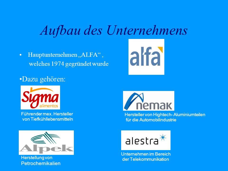 Aufbau des Unternehmens Hauptunternehmen ALFA, welches 1974 gegründet wurde Dazu gehören: Herstellung von Petrochemikalien Hersteller von Hightech- Al