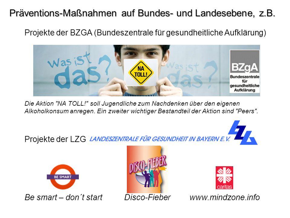 Präventions-Maßnahmen auf Bundes- und Landesebene, z.B. Projekte der BZGA (Bundeszentrale für gesundheitliche Aufklärung) Die Aktion