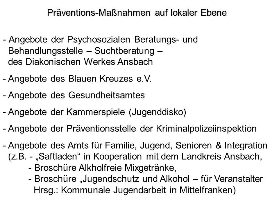 Präventions-Maßnahmen auf lokaler Ebene - Angebote der Psychosozialen Beratungs- und Behandlungsstelle – Suchtberatung – des Diakonischen Werkes Ansba