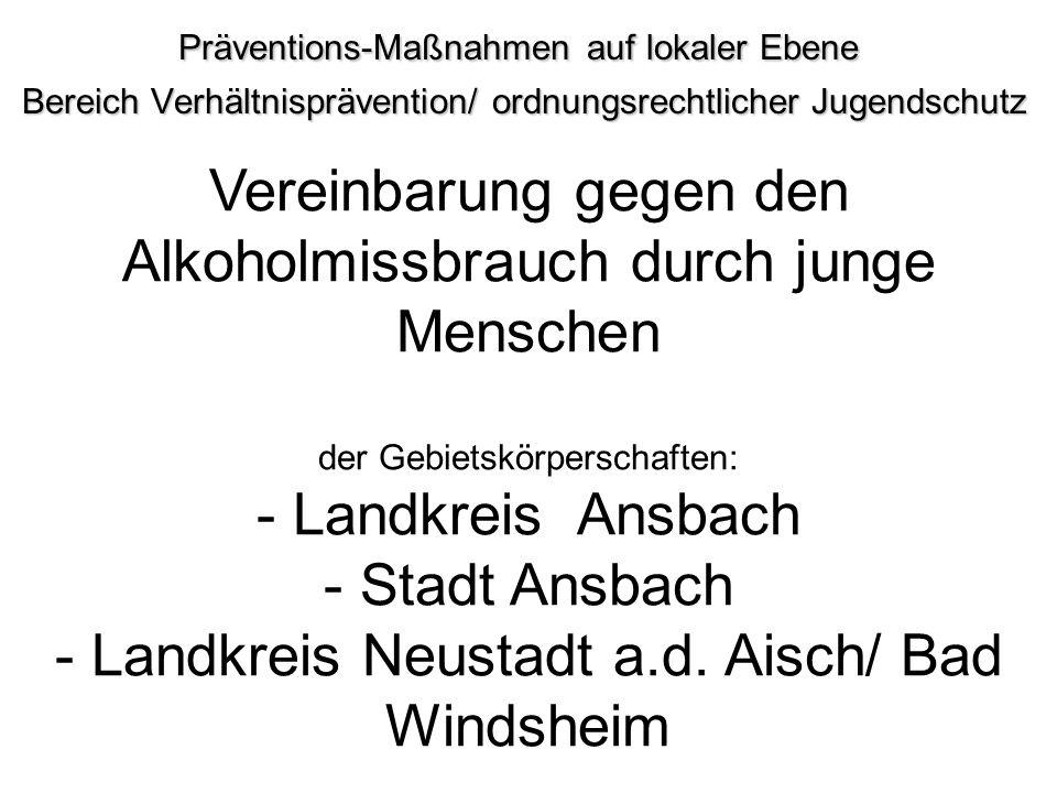 Präventions-Maßnahmen auf lokaler Ebene Bereich Verhältnisprävention/ ordnungsrechtlicher Jugendschutz Bereich Verhältnisprävention/ ordnungsrechtlich
