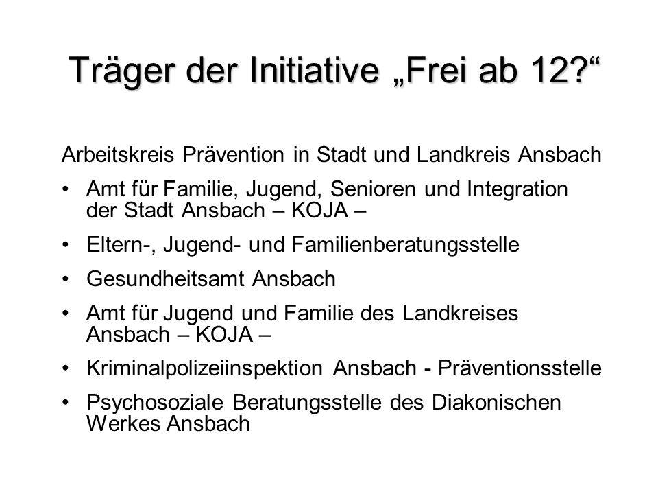 Träger der Initiative Frei ab 12? Arbeitskreis Prävention in Stadt und Landkreis Ansbach Amt für Familie, Jugend, Senioren und Integration der Stadt A