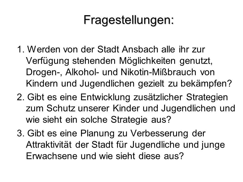 Fragestellungen: 1. Werden von der Stadt Ansbach alle ihr zur Verfügung stehenden Möglichkeiten genutzt, Drogen-, Alkohol- und Nikotin-Mißbrauch von K
