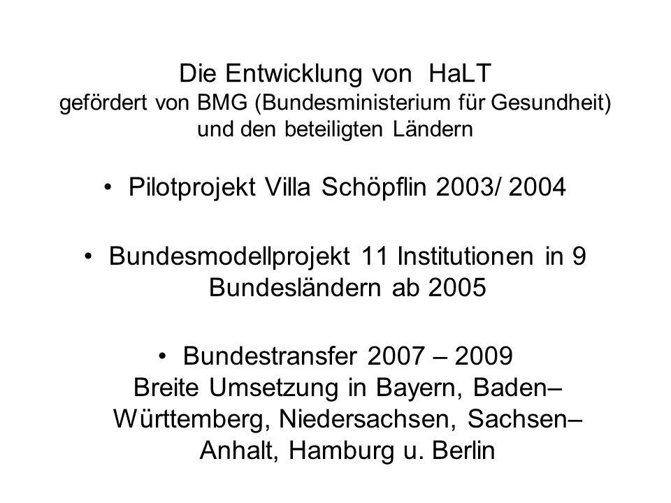Die Entwicklung von HaLT gefördert von BMG (Bundesministerium für Gesundheit) und den beteiligten Ländern Pilotprojekt Villa Schöpflin 2003/ 2004 Bund